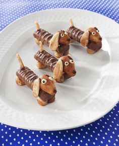 Original treat - Cute dogs of Twix, Marzipan, chocolate spread and decoration tips