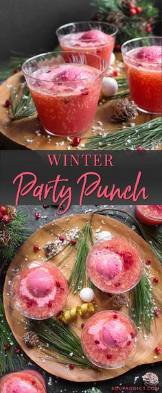 A beautiful party punch, fruity and effervescent, and crowd-friendly . Perfect for every occasion, from cozy holiday gatherings to cookouts. Party Food And Drinks, Fun Drinks, Yummy Drinks, Beverages, Christmas Drinks, Holiday Drinks, Holiday Parties, Non Alcoholic Christmas Punch, Winter Cocktails