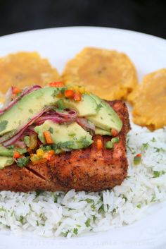 Grilled fish with avocado salsa, rice & tostones