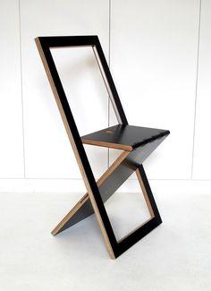 Chaise Pliable Design WoodMood - Noir  woddmon menuiserie creative  mathieu camillieri +-160