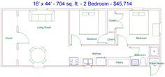 Tiny 2 Bedroom House Plans Elegant Derksen 16 X 44 704 Sq Ft 2 Bedroom Factory Finished Mobile Home Floor Plans, Cabin Floor Plans, Barn House Plans, Modern House Plans, Small House Plans, Shed Plans, Lofted Barn Cabin, Shed Cabin, Tiny House Cabin
