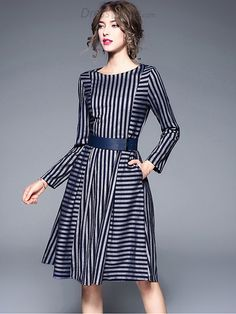 Buy Brief O-Neck Long Sleeve Striped Skater Dress with High Quality and Lovely Service at DressSure.com