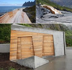 You won't find a footpath or toilet like this on the New Jersey turnpike, but you will at the Tungeneset rest stop in Norway. The service facilities, access ramp and picnic area are by Code Arkitektur. Landscape architecture by Aurora Landskap.