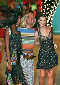 Kate Moss and John Galliano (with Naomi Campbell in 1996)