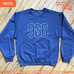 """""""906 (outline)"""" Vintage Heather Blue Crewneck"""