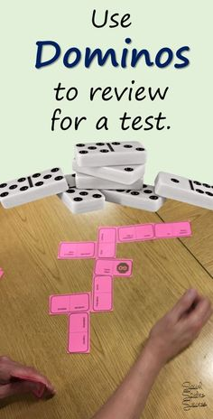 My kids love to use dominos to study for a test in Social Studies.  I can put key history terms on different domino pieces and the kids play games by making connections.  What a great way to review for a test in US History!