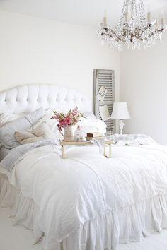 Glam Bedroom. Love love the chandelier.