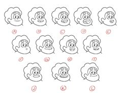 Mouthchart for Steven Universe Drawn by Lead Character Designer Danny Hynes and Supervising Director Ian Jones-Quartey Once all of the audio is in the right place, our track-readers use mouth charts like these to tell the animators which mouths to. Animation Classes, Animation Reference, Drawing Reference, 2d Character, Character Poses, Character Design, Character Development, Outer Space Quotes, Mouth Animation