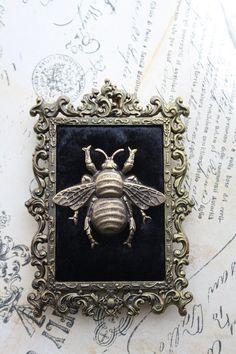 Bee Frame Gothic Victorian Ornate Wall Frame Antique Bronze Gold Black Velvet Filigree Vintage Bumblebee
