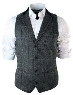 Mens Vintage Tweed Check Waistcoat Herringbone Tan Brown Charcoal Grey Slim Fit: Amazon.co.uk: Clothing