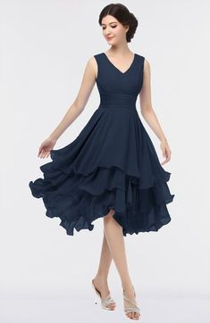 Navy Blue Elegant V-neck Sleeveless Zip up Ruching Bridesmaid Dresses Coral  Bridesmaid Dresses 13a2192bc