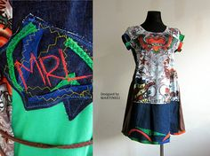 Colorful Tunic Top Patchwork Dress Plus Size Tunic Upcycled