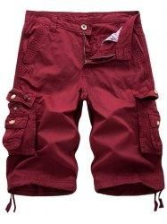 #Gamiss - #Gamiss Flap Pockets Zip Fly Cargo Shorts - AdoreWe.com