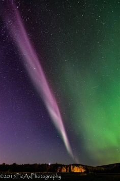 Proton Arc ; I was out shooting aurora and I turned around and behind me was this big beautiful arc. So I started shooting the arc. After a long while it started to unwind. Taken by Kathy Ax on September 23, 2015 @ Wasilla, Alaska
