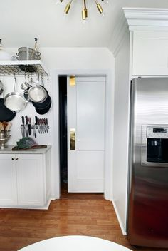 Glam Kitchen Reveal via Hunted Interior Small Space Living, Small Spaces, Sliding Pocket Doors, Stylish Kitchen, Kitchen Redo, Kitchen Ideas, Kitchen Design, Traditional House, Decoration