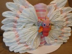Beautiful BUTTERFLY Diaper Cake for Baby GIRL by BabyCakeLane, $29.95