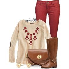 A fashion look from October 2013 featuring j crew shirt, red jeans and brown leather purse. Browse and shop related looks.