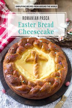 This Romanian pasca is a traditional Easter bread cheesecake that combines the fragrant sweet bread & soft cheesecake filling that satisfies your palate. Sicilian Recipes, Pastry Recipes, Greek Recipes, Turkish Recipes, Romanian Desserts, Romanian Food, Romanian Recipes, Hungarian Desserts, Easy Desserts
