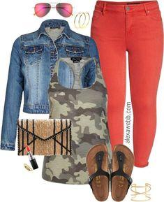 Plus Size Red Orange Jeans - Plus Size Spring Summer Outfits - Plus Size Fashion for Women - alexawebb.com #alexawebb