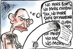 Tony Abbott's new year's resolutions. For those unfamiliar with Australian politics, Prime Minister Tony Abbott is often depicted by cartoonists as naked except for a tiny pair of red budgie smugglers (Speedos), because that's his preferred mode of dress in public. I'm not making this up. Check Google images.  #auspol #australia #tonyabbott