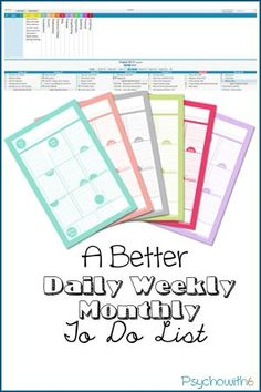 A Better Daily Weekly Monthly To Do List. Free printable from http://JanaLaurene.com or Mac app