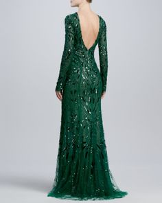 Monique Lhuillier Beaded & Embroidered Long-Sleeve Gown - Neiman Marcus