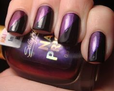 Sally Hansen Burgundy Orchid with black. Like the design using tape, perhaps consider with different colours.