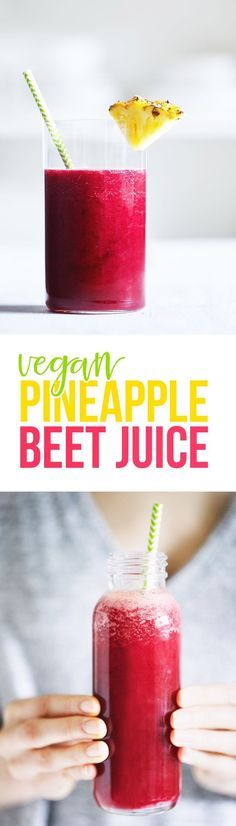 A pretty juice made from beet, pineapple, cucumber and ginger. Makes for a nourishing beverage that will whisk you away to paradise! And a trick to make juice without a juicer. Vegan & Gluten Free.