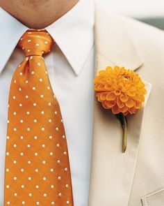 and Orange Wedding Flowers Fun! Dahlia boutonniere and polka dot tie! Dahlia boutonniere and polka dot tie! by Martha Stewart Orange Wedding Flowers, Orange Flowers, Wedding Colors, Orange Weddings, Tangerine Wedding, Marigold Wedding, White Flowers, Beautiful Flowers, Orange Boutonniere