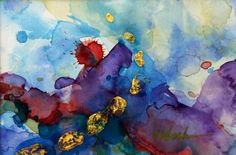 Original modern art abstract, gold leaf foil, olive green, purple, blue, red with white mat, 4.5 x 6.5, Titled Three, by Victoria Kloch. $45.00, via Etsy.