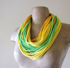 T-Shirt Scarf Necklace | Citrus Scarf Necklace - Upcycled T Shirt Scarf - Lime Green, Yellow ...