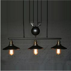 Pendant Lights Industrial Factory Edison Vintage 3-light Iron Mirror Lifting Pulley Droplight Ceiling Lamp For Cafe Bar Club Store Restaurant Durable Service Ceiling Lights & Fans