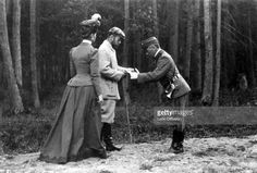 Tsar Nicholas II Romanov of Russia and Empress Alexandra Feodorovna Romanova during a hunting expedition in the Bialowieza Forest. Russian Empire, 1897.