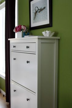 Shoe cupboard. Ikea. Could be the perfect solution for the entry way table I can't seem to find to fit the space.