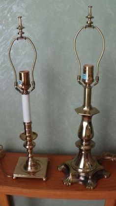PAIR-ETHAN-ALLEN-SOLID-BRASS-TABLE-LAMPS-FINIALS-3-WAY-FREE-SHIPPING
