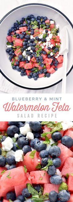 Blueberry Watermelon Feta Mint Salad Recipe  Ik heb er kalamata olijven in gedaan. En in de dressing twee teentjes knoflook.