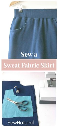Learn to draft your own simpel sewing pattern and sew a knit skirt in your own size. Step by step sewing tutorial - SewNatural Skirt Patterns Sewing, Sewing Patterns Free, Sewing Tutorials, Knitting Patterns, Sewing Ideas, Sewing Basics, Sewing For Beginners, Sew Your Own Clothes, Small Sewing Projects
