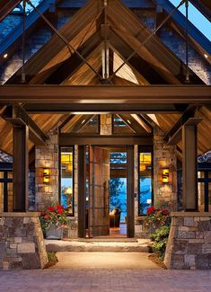 50 Rustic contemporary lake house with privileged - House Design 2019 ⋆ masnewsclub Timber Frame Homes, Timber House, Timber Frames, Design Rustique, Haus Am See, Lakeside Living, Porche, Lodge Style, Log Cabin Homes