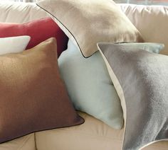 finally bought some pillows the couch in the den - the grey - really nice quality