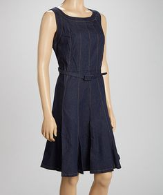 Loving this Blue Denim Belted Sleeveless Dress on #zulily! #zulilyfinds