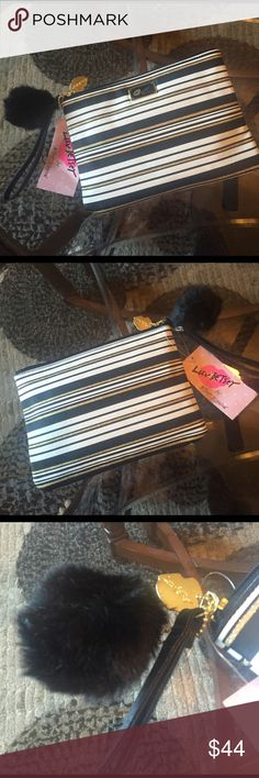 """🌺NEW! AUTHENTIC BETSEY JOHNSON POUCH W/POM BRAND NEW! AUTHENTIC BETSEY JOHNSON POUCH W/POM-Comes with 3 card holder pockets & a zippered pocket on the inside. Approximate Measurements are 9 1/2"""" X 6 1/2"""" X 1"""". NEVER USED! EXCELLENT NEW CONDITION!! I'll have a pic of the inside sometime today...😊 Betsey Johnson Bags"""