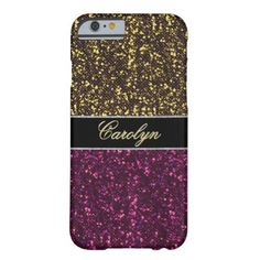 Modern Glitter Glam Barely There iPhone 6 Case A very pretty and modern looking cell phone with glitter and glam in gold and hot pink. #glitter #glittery #sparkle #glam #girly #gold #hot pink...