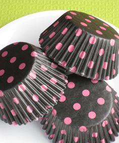 Black with Pink Polka Dot Cupcake Liners Designer Baking Cups Polka Dot Cupcakes, Love Cupcakes, Black White Pink, Pink Brown, Cupcake Liners, Party Shop, Pink Polka Dots, Favorite Color, Hot Pink