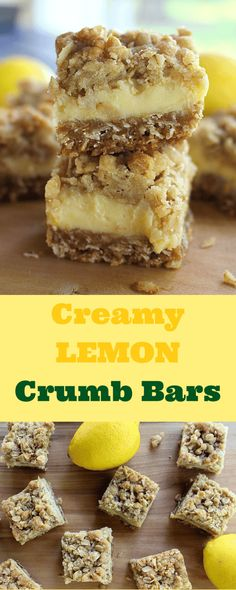 These light and refreshing Creamy Lemon Crumb Bars are the perfect dessert on a hot summer day! Paleo Dessert, Lemon Dessert Recipes, Lemon Recipes, Dessert Bars, Baking Recipes, Sweet Recipes, Cookie Recipes, Mini Desserts, Just Desserts