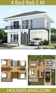 House design Plans Idea with 4 bedroomsThe House has:Building size (m X m) : x size (Sq.m) : size (Square wah) : 34 Loft House Design, 4 Bedroom House Designs, 5 Bedroom House Plans, Two Story House Design, 2 Storey House Design, My House Plans, Home Building Design, Family House Plans, Home Design Plans