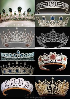 Second from top on left: The Girls of Great Britain and Ireland Tiara. Third from top on right: The Burmese Ruby Tiara Royal Crown Jewels, Royal Crowns, Royal Tiaras, Royal Jewelry, Tiaras And Crowns, Fine Jewelry, Princess Crowns, British Crown Jewels, Pageant Crowns