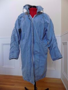 HUMP DAY SALE! BUY IT NOW! Light Blue Denim Puffer Coat Size S Zip Front Side Pockets Drawstring Collar  | eBay