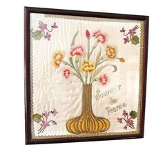 Antique Framed FRANCE Embroidery Souvenir by PremierAntiquesNY ***ALSO SEE Vintage Jewelry at: http://MyClassicJewelry.com/shop