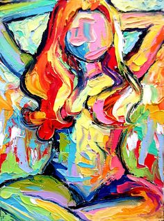 Impasto nude painting abstract oil by Aja by SagittariusGallery, $68.00