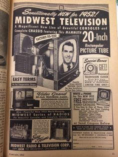 """sensationally new for 1952! Midwest television. A magnificent new line of beautiful consoles and complete chassis featuring this mammoth 20 inch rectangular picture tube"""